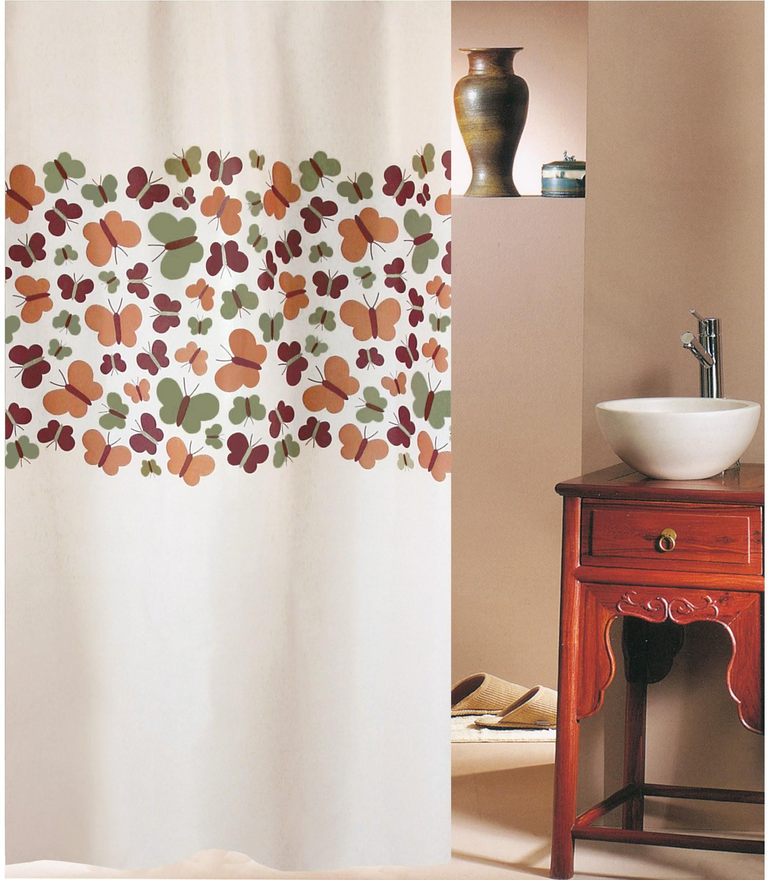 Κουρτίνα Μπάνιου (180×200) San Lorentzo Butterflies Beige