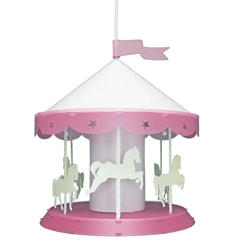 Παιδικό Φωτιστικό Οροφής Μονόφωτο R&M Coudert Καρουζέλ Ροζ