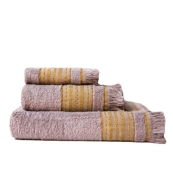 Πετσέτες Μπάνιου (Σετ 3τμχ) Melinen Hammam Mauvy/Golden