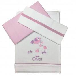Σεντόνια Λίκνου (Σετ) Baby Oliver Lilac Dream Birds 300