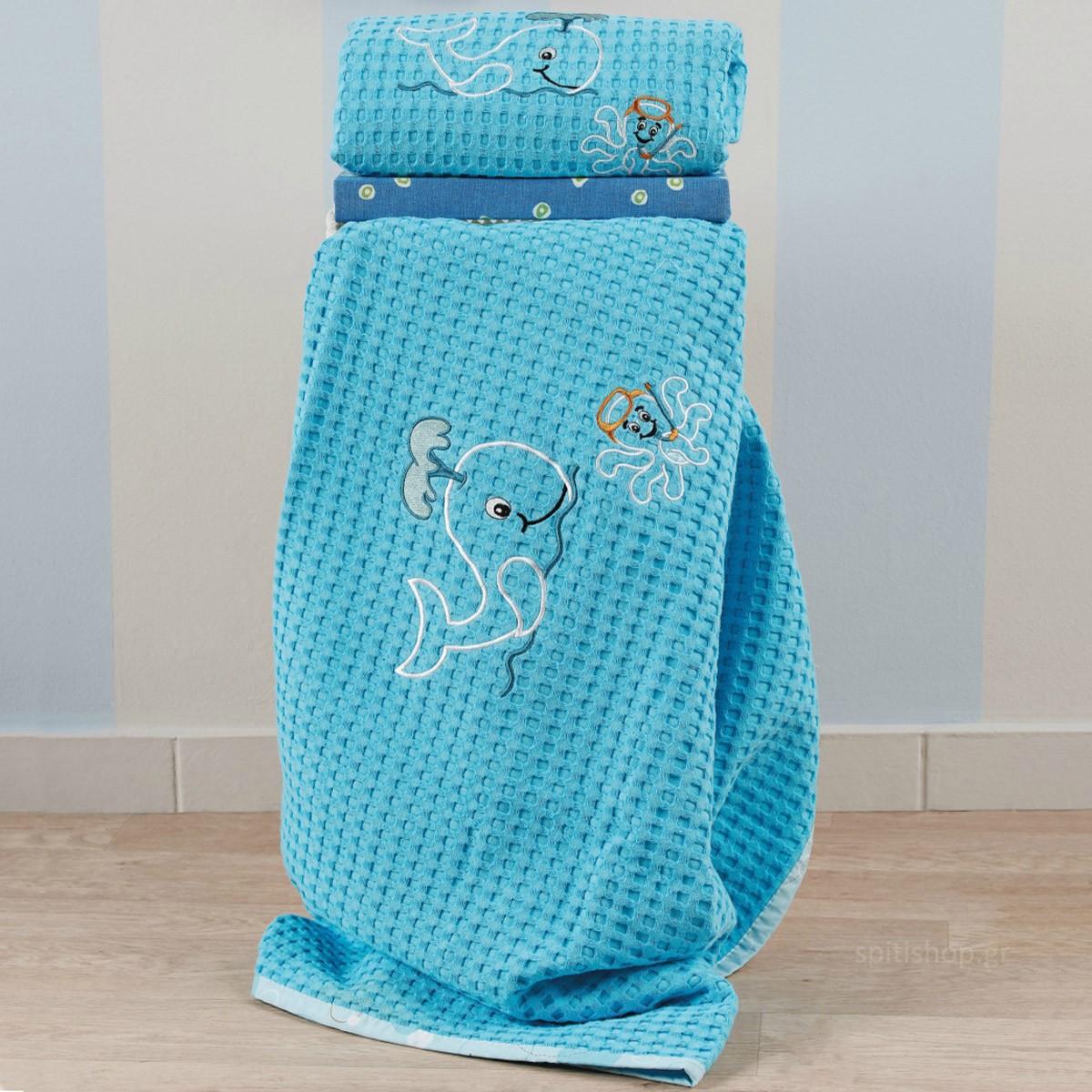 Κουβέρτα Πικέ Αγκαλιάς Kentia Baby Fishy