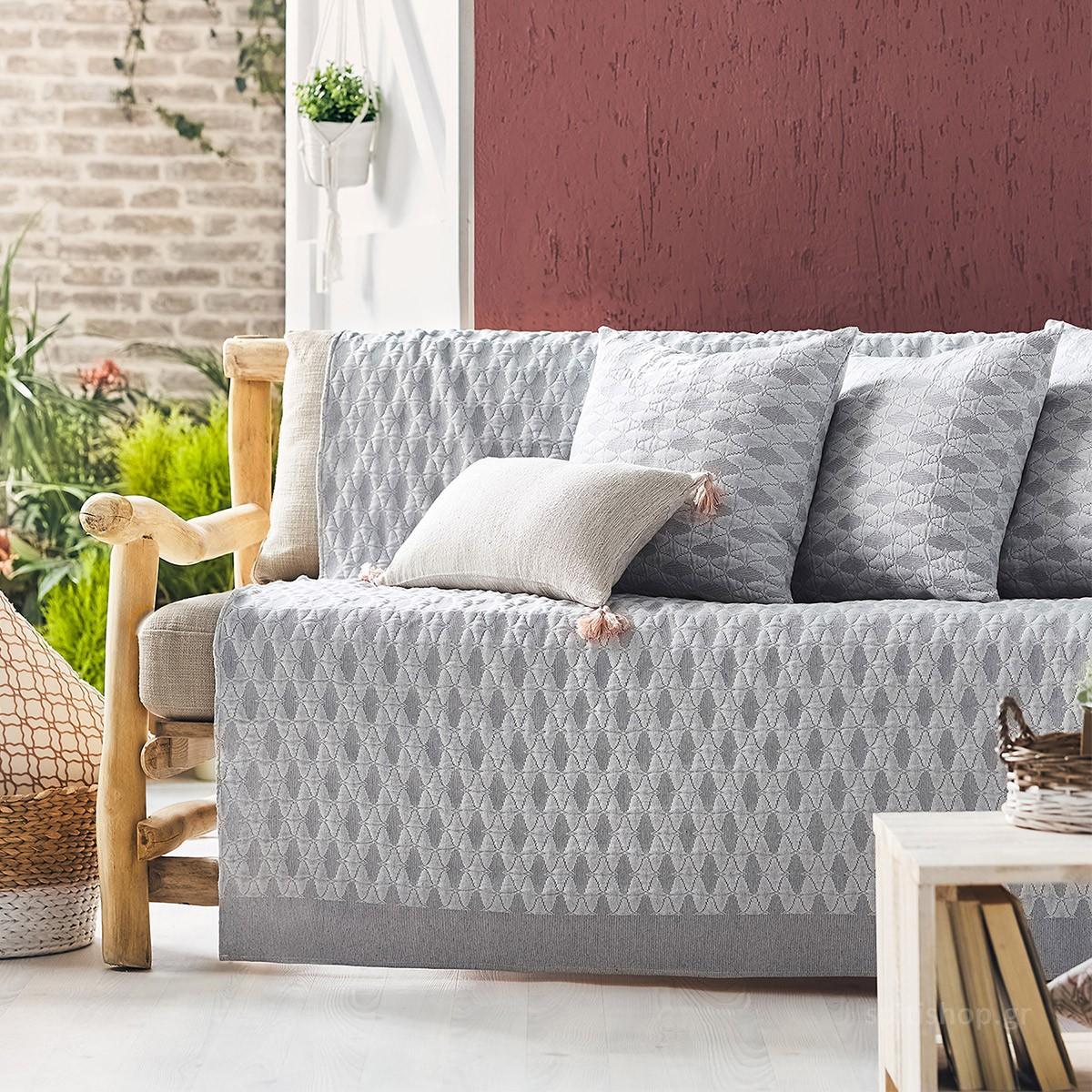 Ριχτάρι Πολυθρόνας (180×180) Gofis Home Quattro Grey 386/15