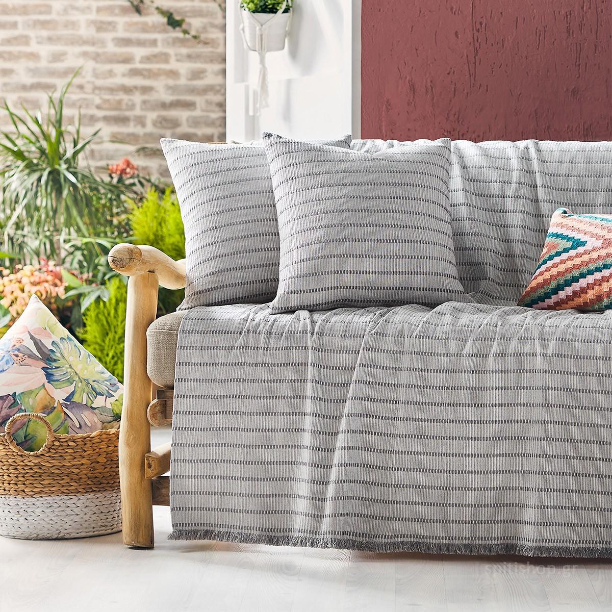 Ριχτάρι Τριθέσιου (180×310) Gofis Home Solitaire Grey 476/15