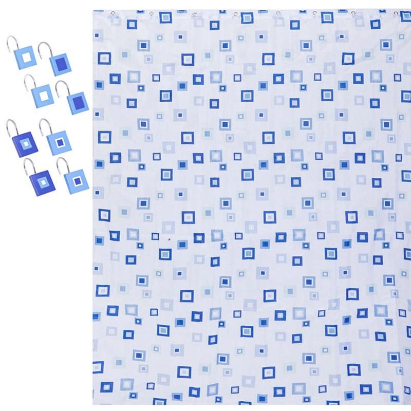 Κουρτίνα Μπάνιου (180×180) Σετ Με Γάντζους Marva Checkered 53603