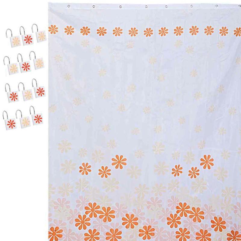 Κουρτίνα Μπάνιου (180×180) Σετ Με Γάντζους Marva Daisy Orange