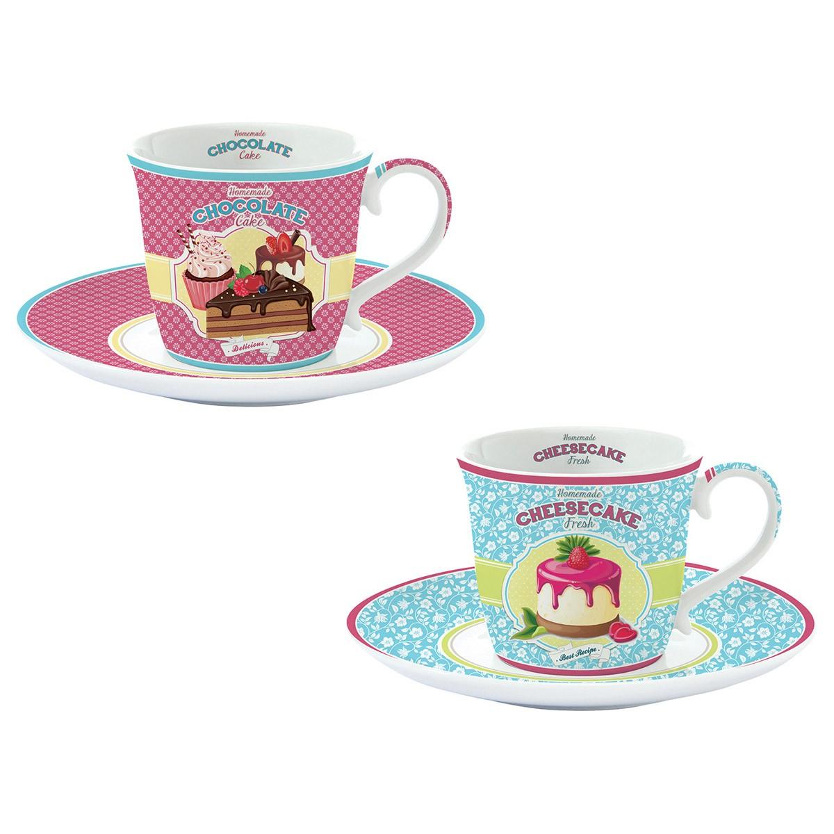 Φλυτζάνια Καφέ + Πιατάκια (Σετ 2τμχ) Marva Fancy Bake Off 1175 88202