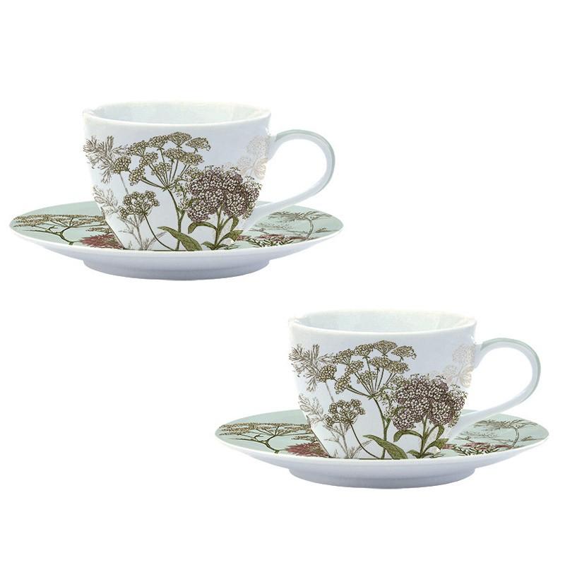 Φλυτζάνια Καφέ + Πιατάκια (Σετ 2τμχ) Marva Botanica Green 977 88216