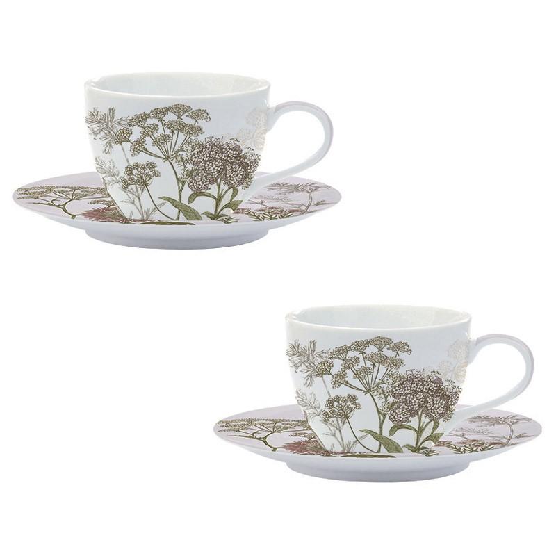 Φλυτζάνια Τσαγιού + Πιατάκια (Σετ 2τμχ) Marva Botanica Lilac 978