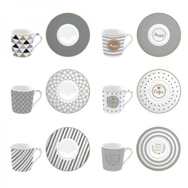 Φλυτζάνια Καφέ + Πιατάκια (Σετ 6τμχ) Marva Coffeemania Silver 126CΜΗΑ