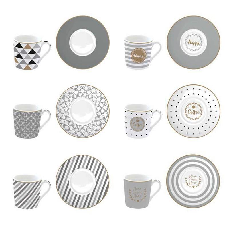Φλυτζάνια Καφέ + Πιατάκια (Σετ 6τμχ) Marva Coffeemania Silver home   κουζίνα   τραπεζαρία   κούπες   φλυτζάνια