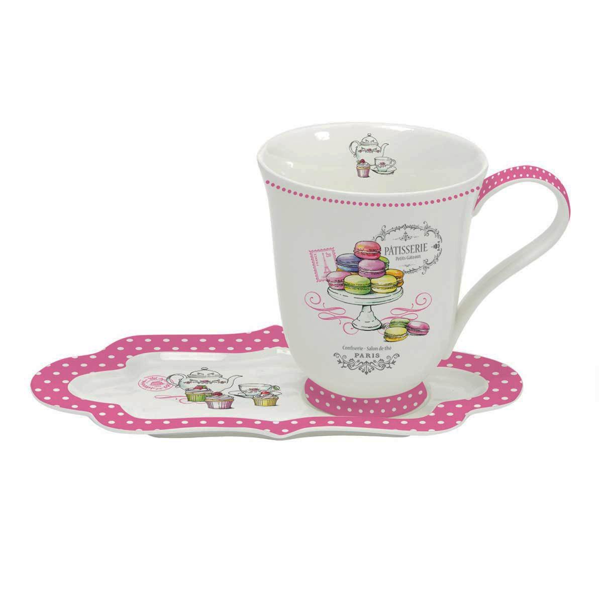 Κούπα Με Οβάλ Πιατάκι Marva Patisserie Pink 1126GΟΜ3