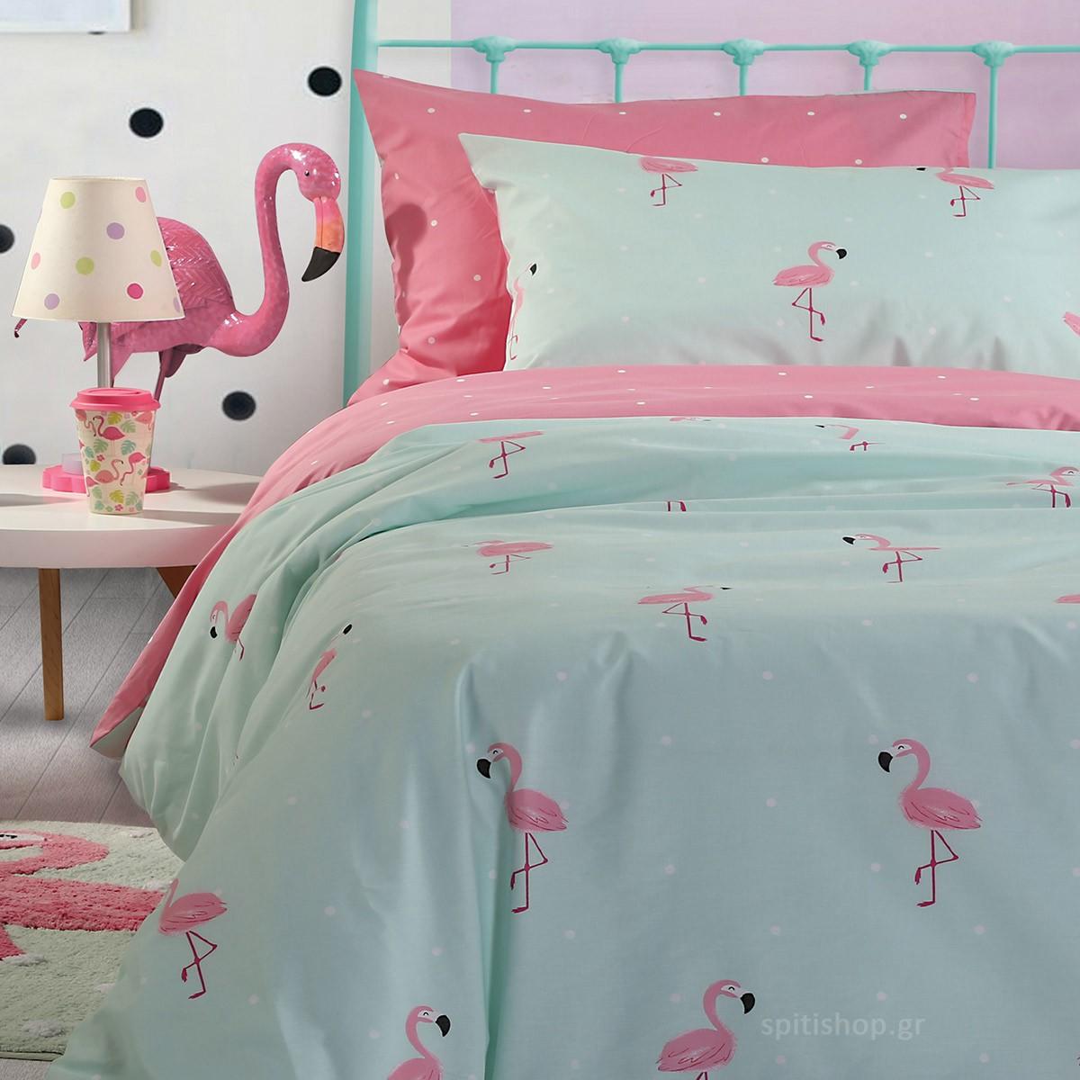 Σεντόνια Μονά (Σετ) Nef-Nef Kids Flamingo
