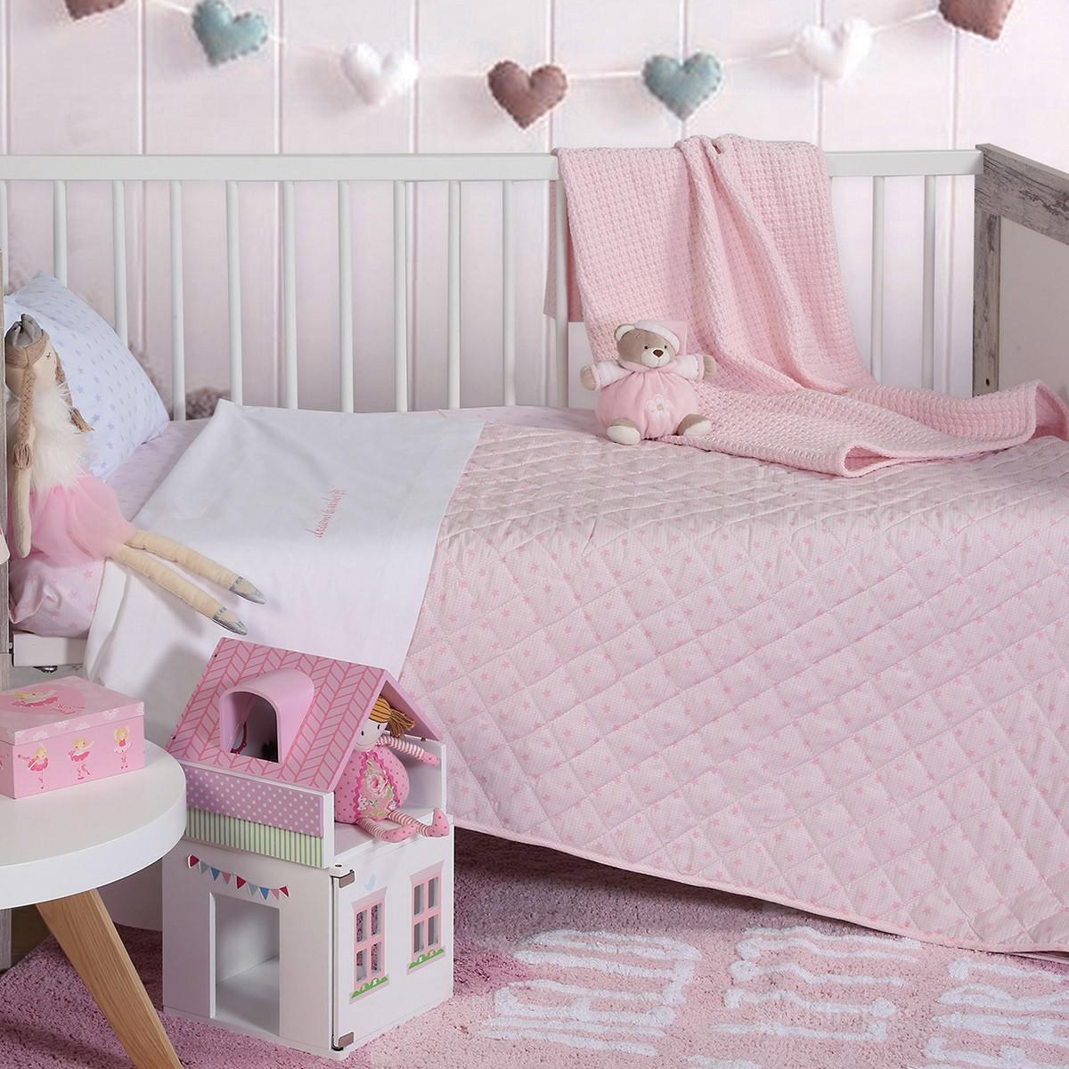 Κουβερλί Κούνιας Nef-Nef Dreams & Wishes Pink
