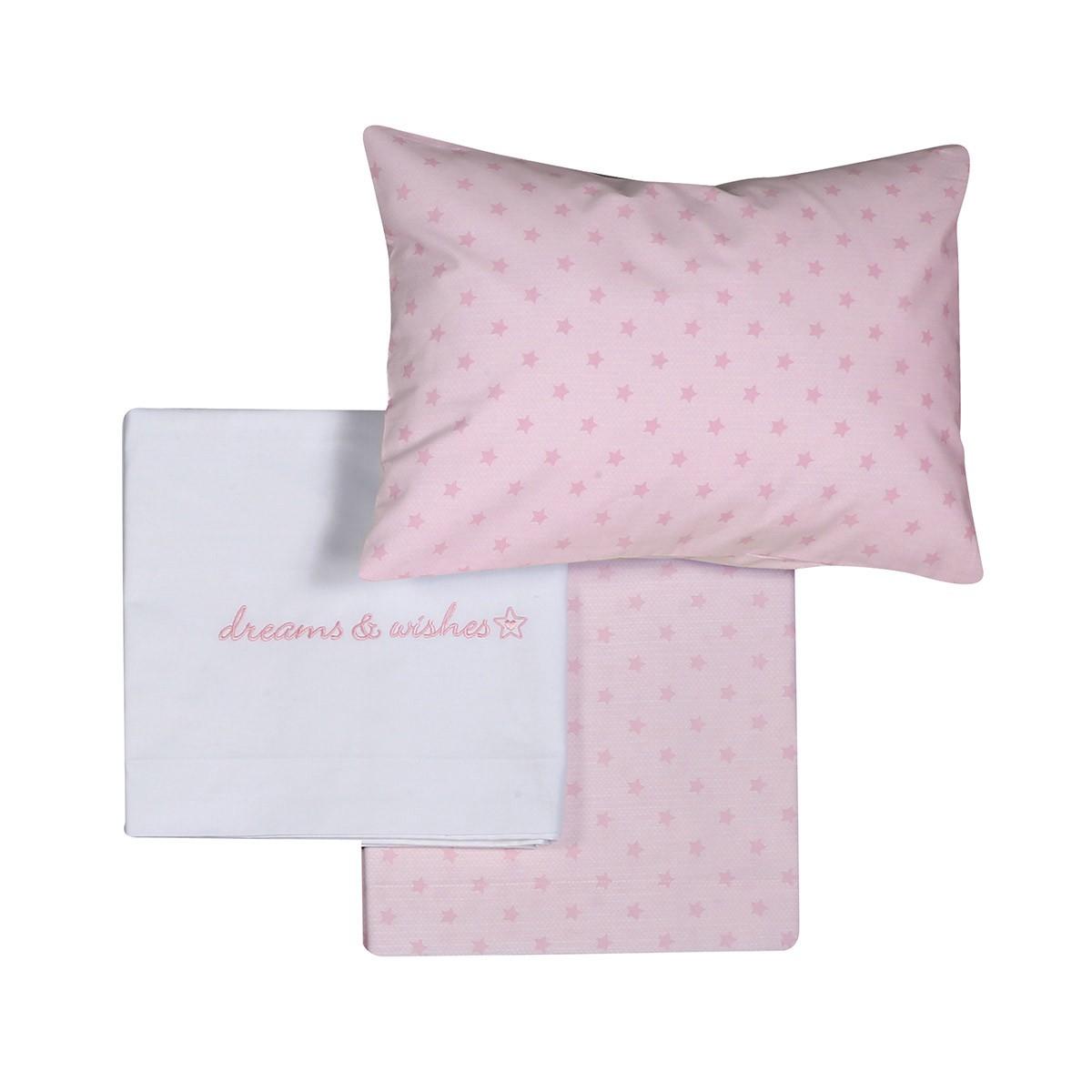 Σεντόνια Κούνιας (Σετ) Nef-Nef Dreams & Wishes Pink