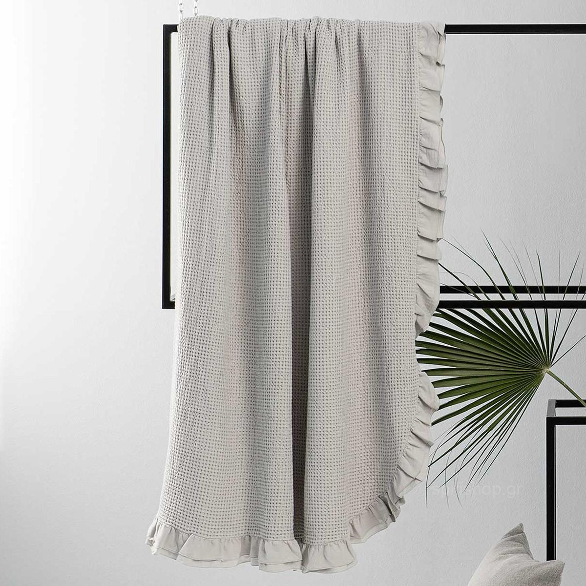 Κουβέρτα Πικέ Υπέρδιπλη Nima Layers Beatrice Light Grey 89025