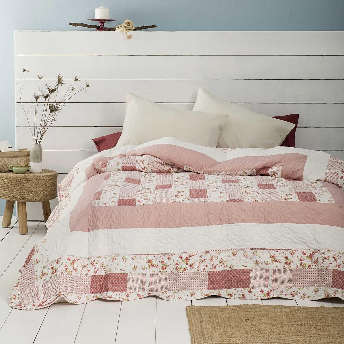 Κουβερλί Υπέρδιπλο Nima Layers Pink Paradise