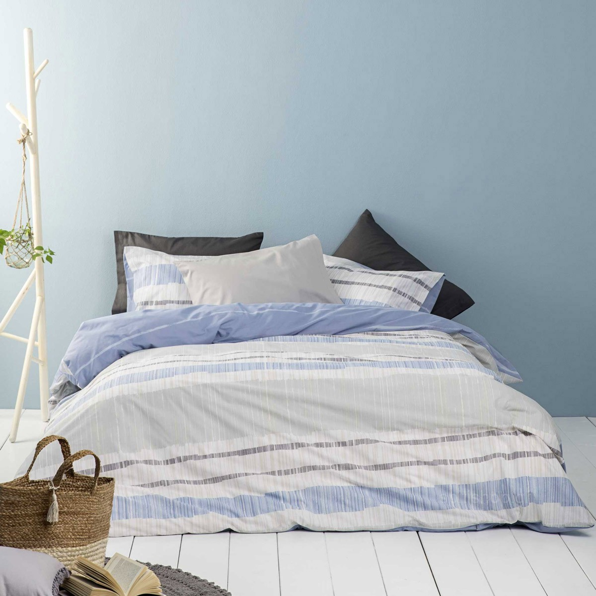 Σεντόνια Υπέρδιπλα (Σετ) Nima Bed Linen Rules Blue ΜΕ ΛΑΣΤΙΧΟ ΜΕ ΛΑΣΤΙΧΟ