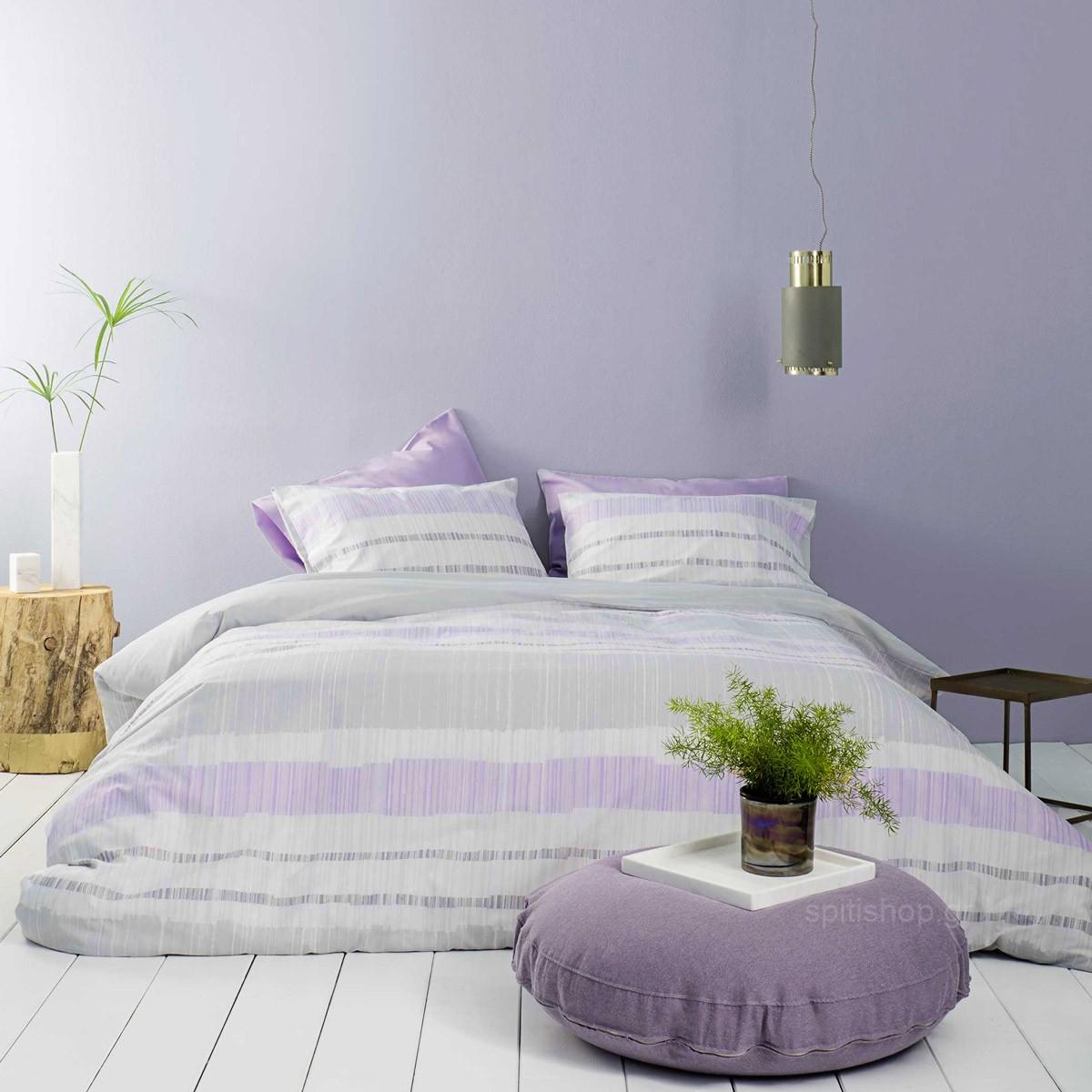Σεντόνια Υπέρδιπλα (Σετ) Nima Bed Linen Rules Lilac ΜΕ ΛΑΣΤΙΧΟ ΜΕ ΛΑΣΤΙΧΟ