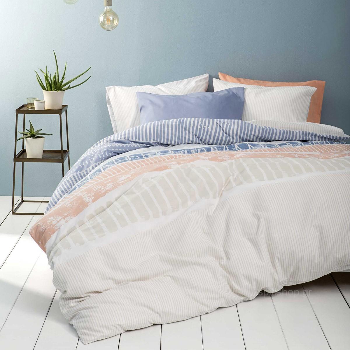 Σεντόνια Μονά (Σετ) Nima Bed Linen Akachi Blue ΜΕ ΛΑΣΤΙΧΟ 100×200+32 ΜΕ ΛΑΣΤΙΧΟ 100×200+32
