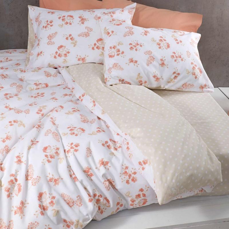 Σεντόνια Μονά (Σετ) Nima Bed Linen Alyssa Coral