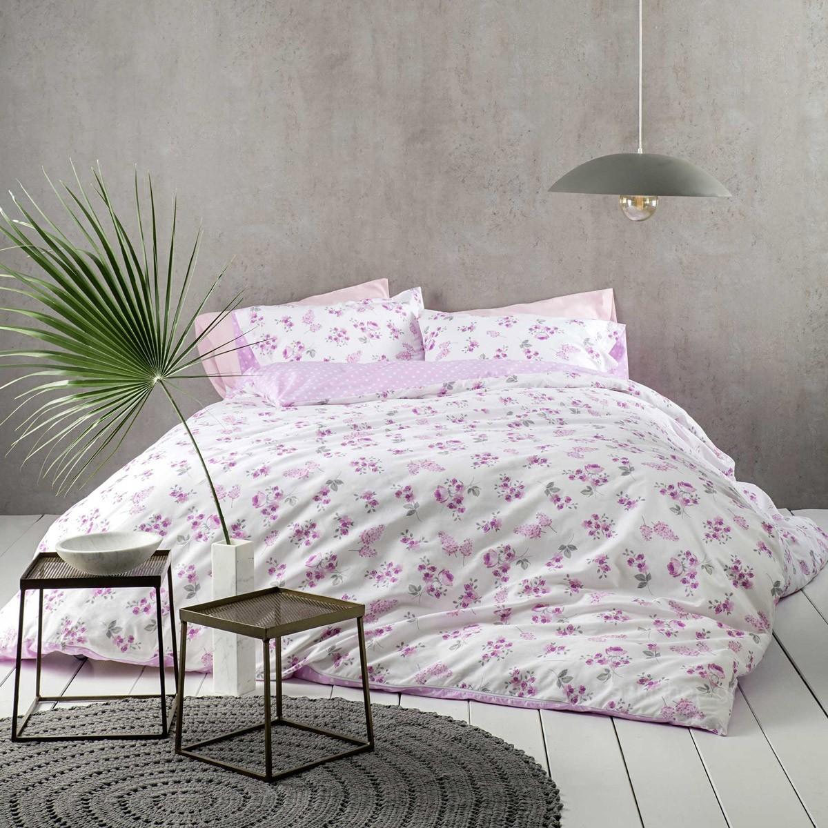 Σεντόνια Υπέρδιπλα (Σετ) Nima Bed Linen Alyssa Pink ΧΩΡΙΣ ΛΑΣΤΙΧΟ 240×260 ΧΩΡΙΣ ΛΑΣΤΙΧΟ 240×260
