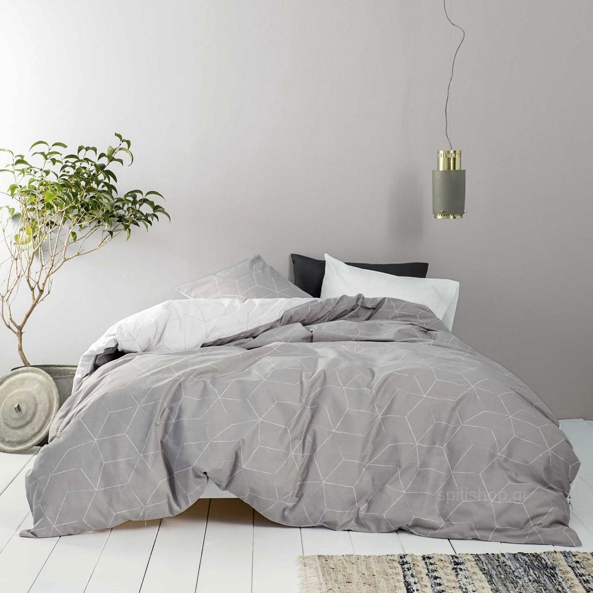 Σεντόνια Μονά (Σετ) Nima Bed Linen Fade Grey ΜΕ ΛΑΣΤΙΧΟ 100×200+32 ΜΕ ΛΑΣΤΙΧΟ 100×200+32