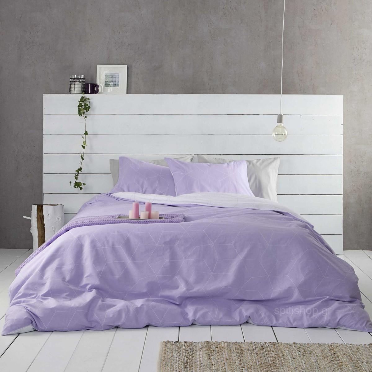 Σεντόνια Υπέρδιπλα (Σετ) Nima Bed Linen Fade Lilac ΧΩΡΙΣ ΛΑΣΤΙΧΟ ΧΩΡΙΣ ΛΑΣΤΙΧΟ