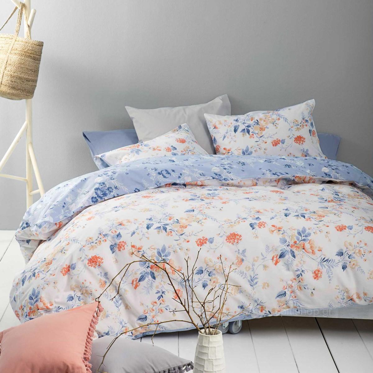 Σεντόνια Υπέρδιπλα (Σετ) Nima Bed Linen Floret Blue ΜΕ ΛΑΣΤΙΧΟ ΜΕ ΛΑΣΤΙΧΟ