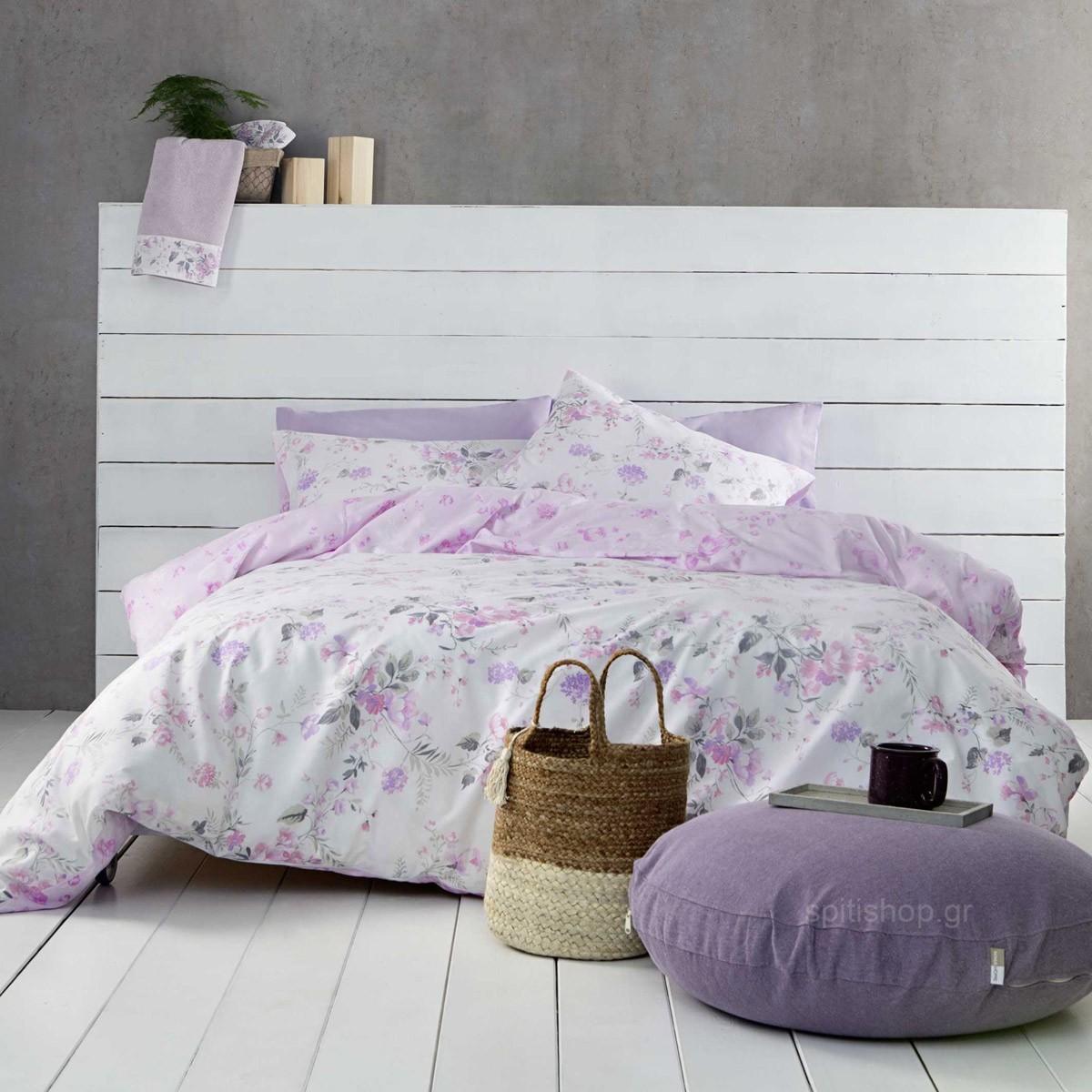 Σεντόνια Υπέρδιπλα (Σετ) Nima Bed Linen Floret Pink ΧΩΡΙΣ ΛΑΣΤΙΧΟ ΧΩΡΙΣ ΛΑΣΤΙΧΟ