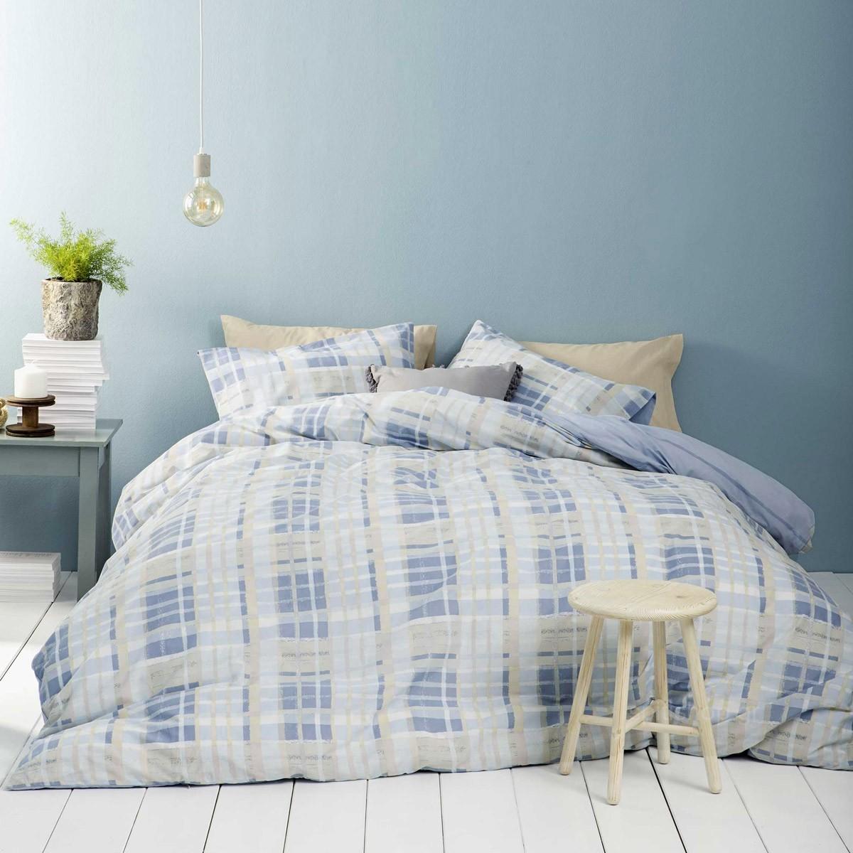Σεντόνια Υπέρδιπλα (Σετ) Nima Bed Linen Melville Blue ΜΕ ΛΑΣΤΙΧΟ ΜΕ ΛΑΣΤΙΧΟ