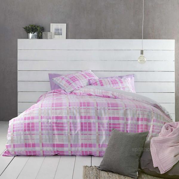 Σεντόνια Μονά (Σετ) Nima Bed Linen Melville Pink