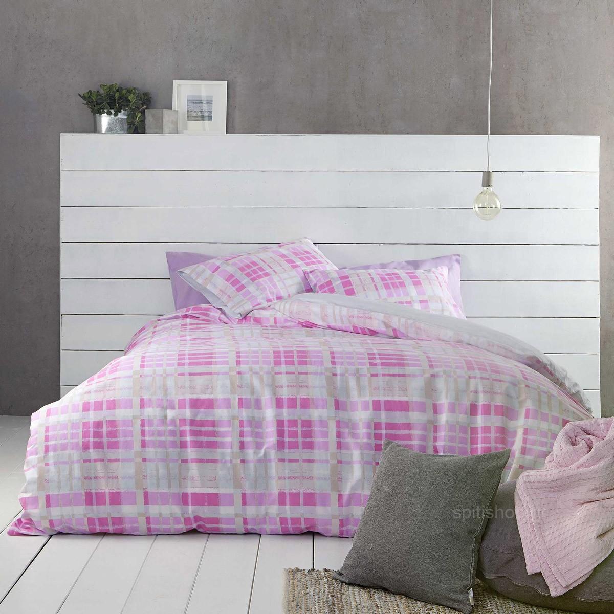 Σεντόνια Υπέρδιπλα (Σετ) Nima Bed Linen Melville Pink ΜΕ ΛΑΣΤΙΧΟ ΜΕ ΛΑΣΤΙΧΟ