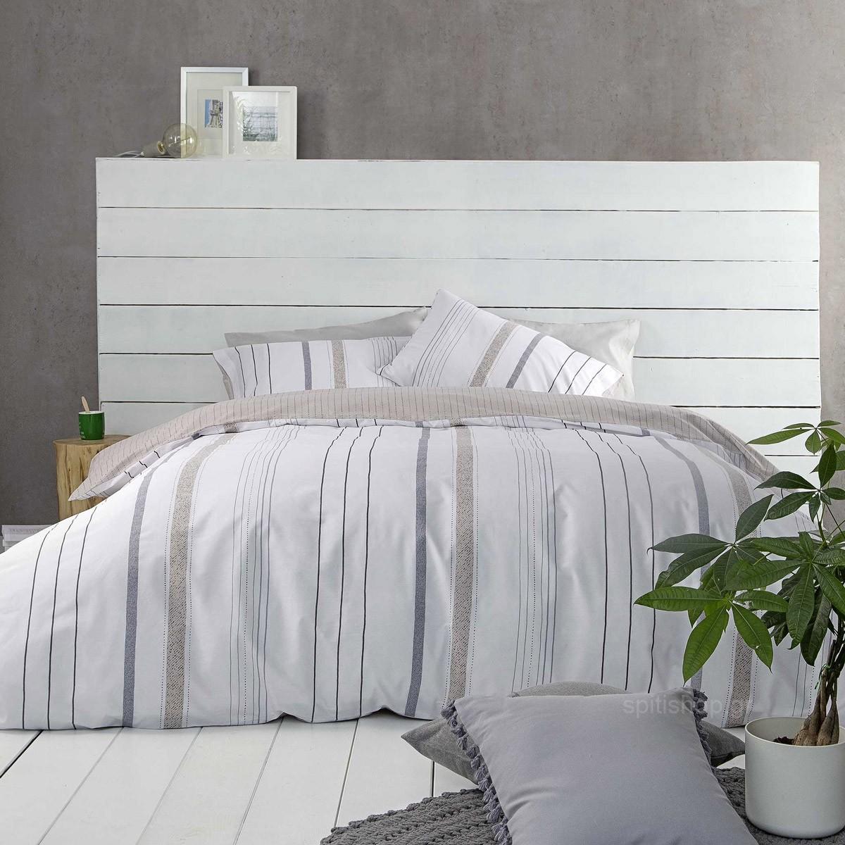 Σεντόνια Μονά (Σετ) Nima Bed Linen Homme Grey
