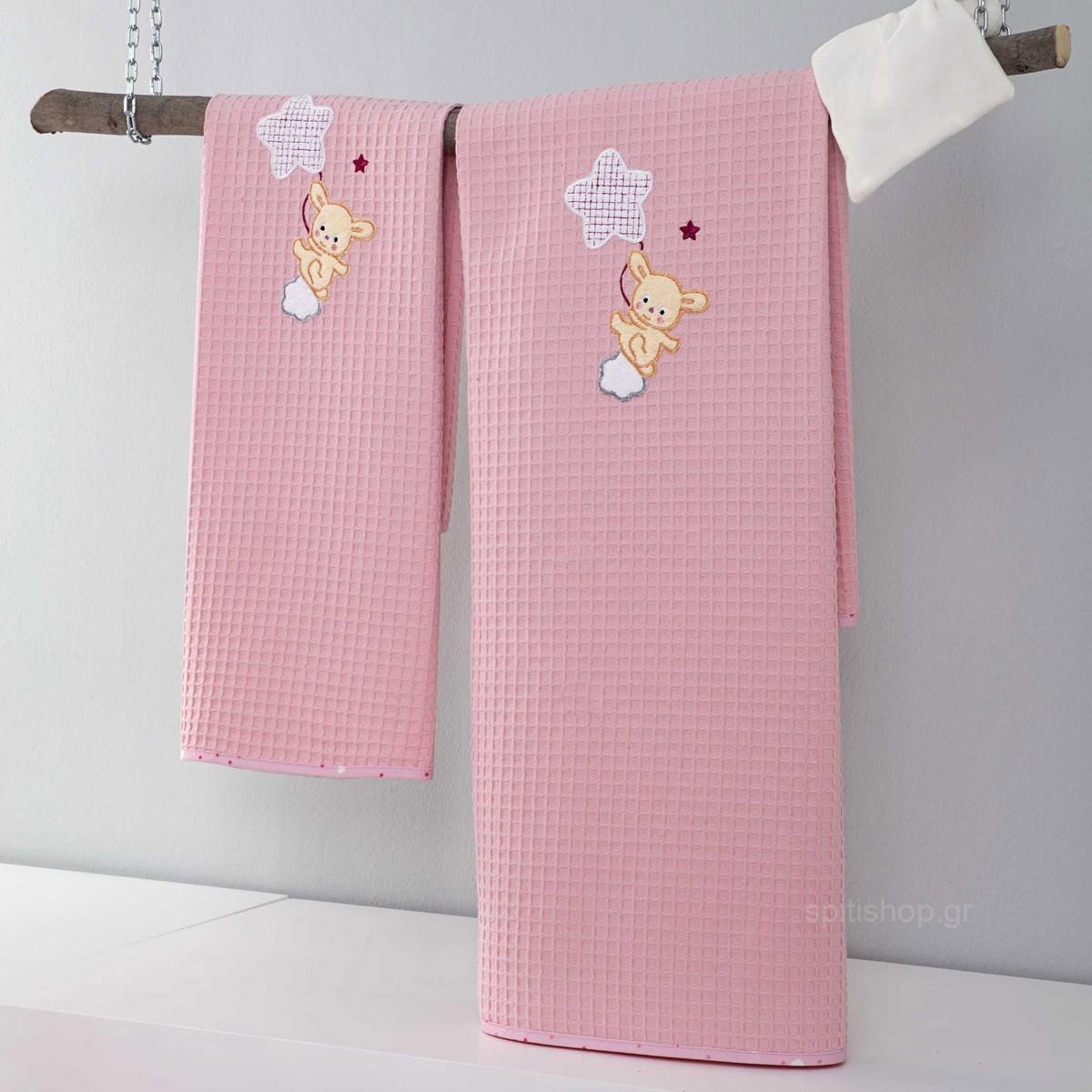 Κουβέρτα Πικέ Αγκαλιάς Nima Baby Star Pink