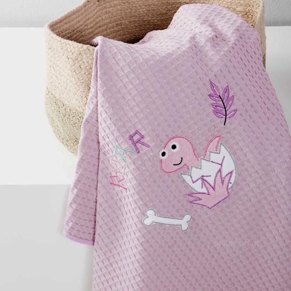 Κουβέρτα Πικέ Κούνιας Nima Baby Roar Lilac