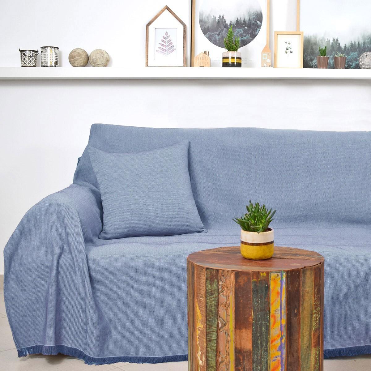 Ριχτάρι Πολυθρόνας (180×180) Ravelia Frugal Blue