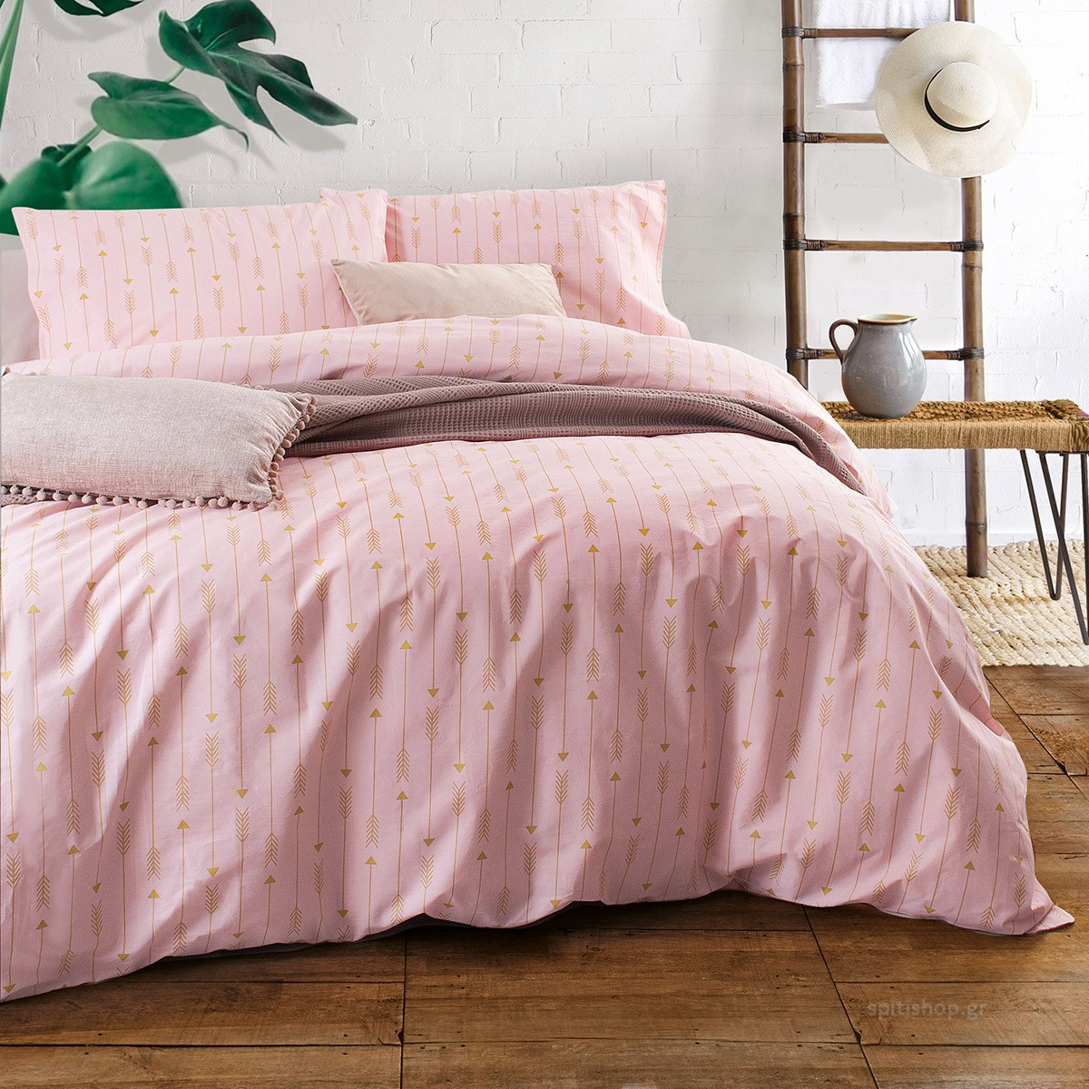 Παπλωματοθήκη Υπέρδιπλη (Σετ) Rythmos Diva Arrow Pink