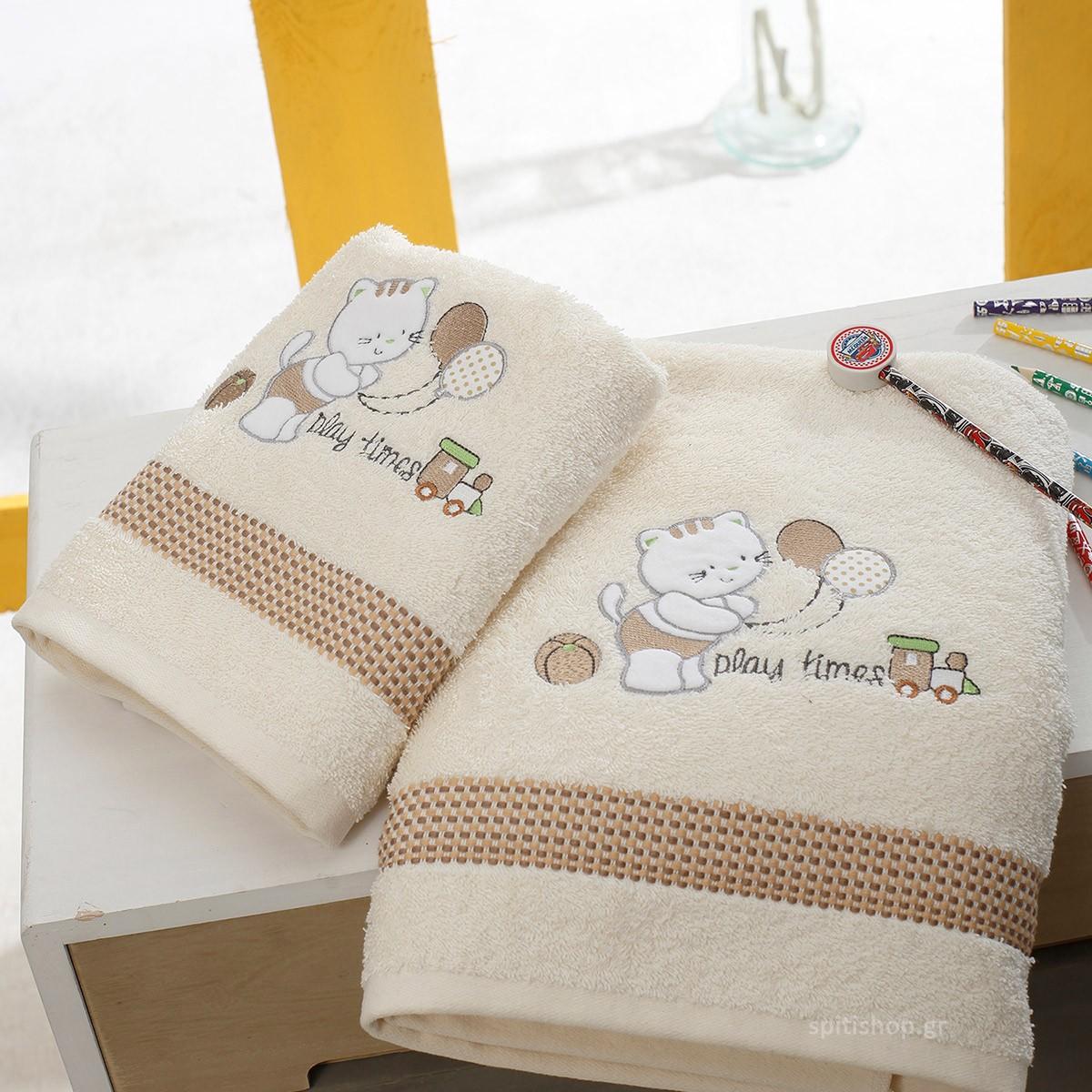 Βρεφικές Πετσέτες (Σετ 2τμχ) Sb Home Kitten Cream