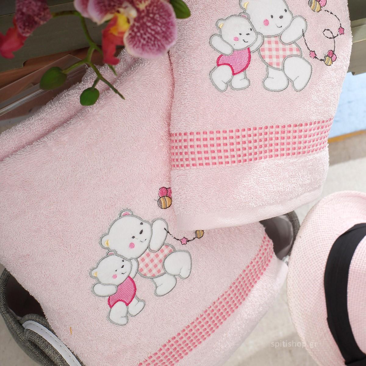 Βρεφικές Πετσέτες (Σετ 2τμχ) Sb Home Teddy Bear Pink