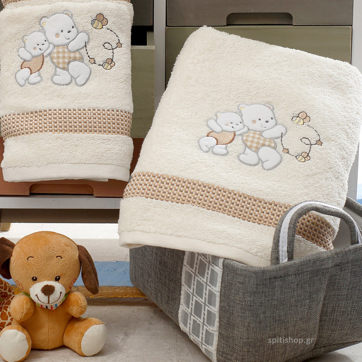 Βρεφικές Πετσέτες (Σετ 2τμχ) Sb Home Teddy Bear Cream