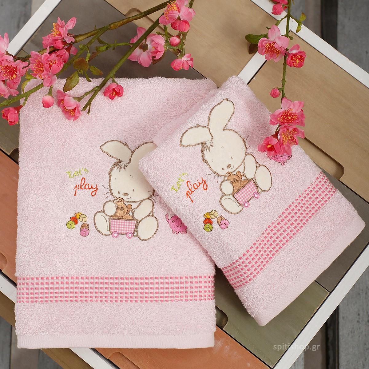 42c0fee2b8c Βρεφικές Πετσέτες (Σετ 2τμχ) Sb Home Bunny Pink