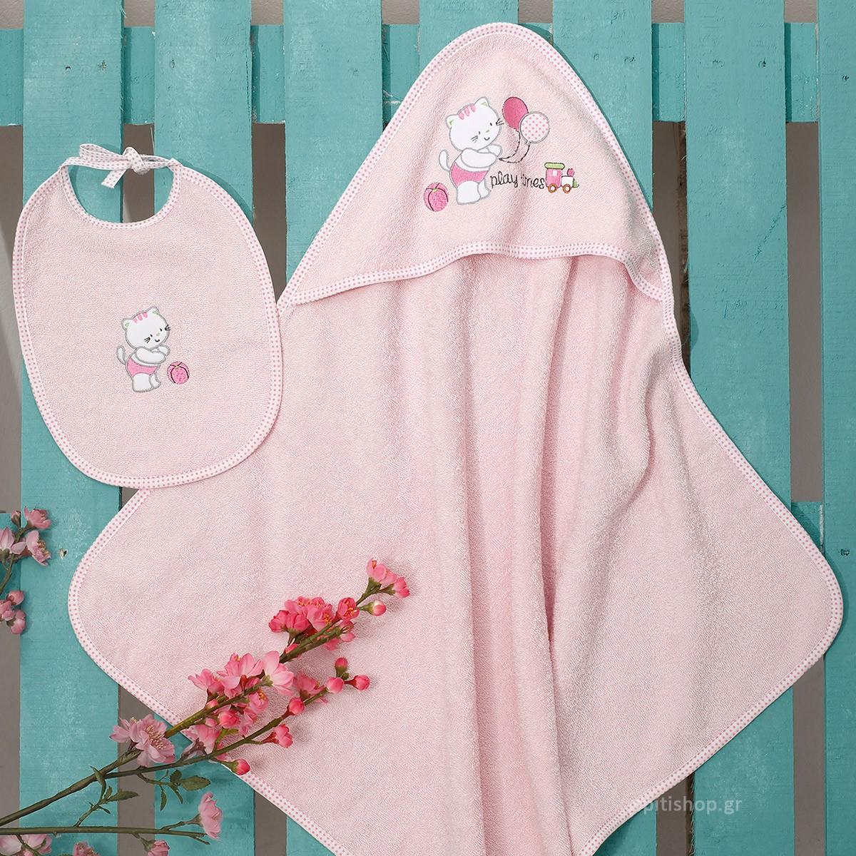 Βρεφική Κάπα + Σαλιάρα Sb Home Kitten Pink