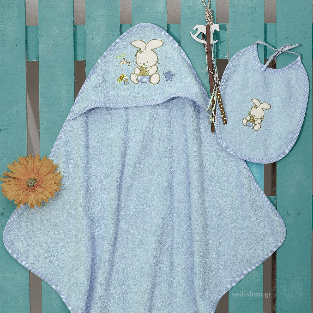 Βρεφική Κάπα + Σαλιάρα Sb Home Bunny Blue