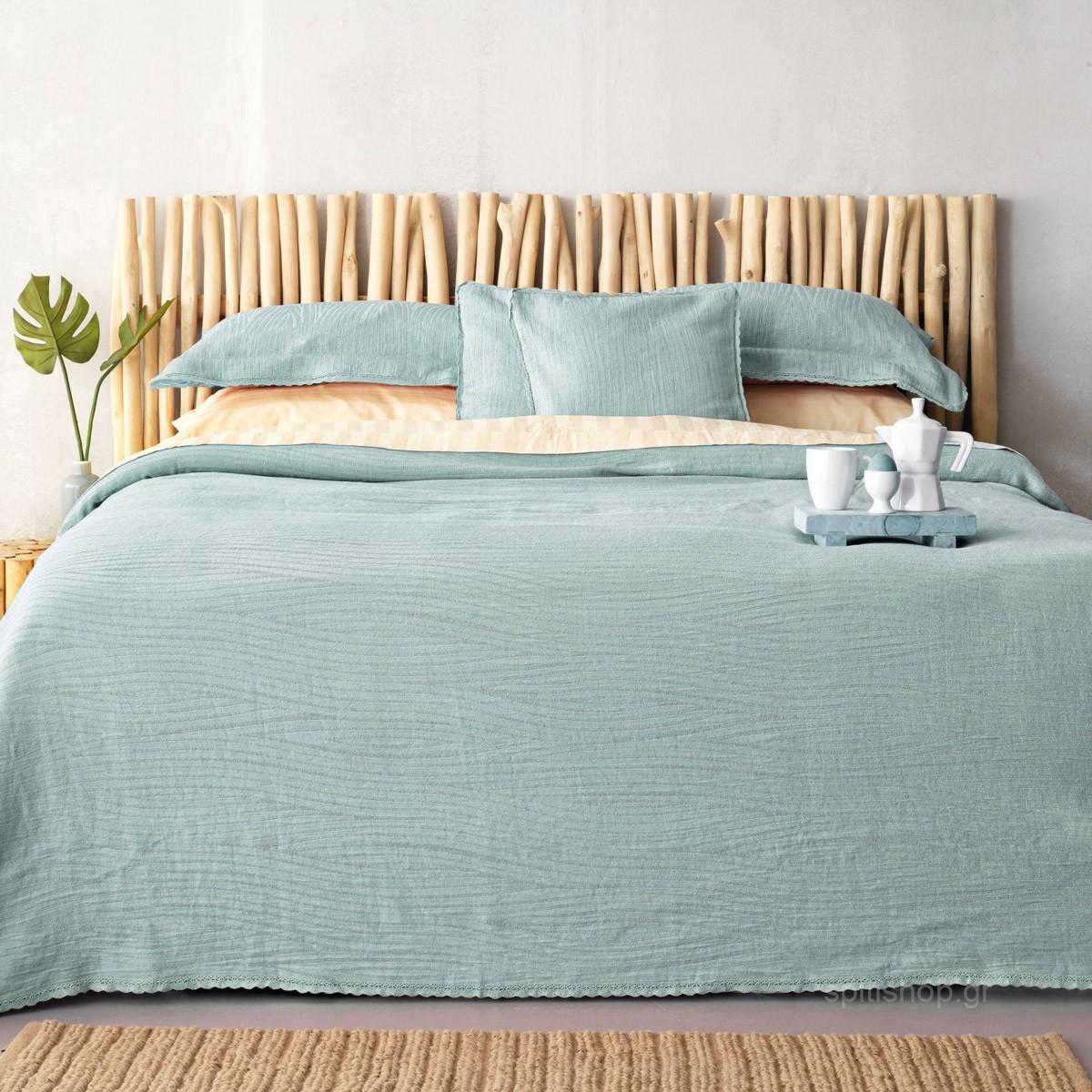 Κουβερτόριο Υπέρδιπλο Palamaiki Daily 1099 Blue home   κρεβατοκάμαρα   κουβέρτες   κουβέρτες καλοκαιρινές υπέρδιπλες