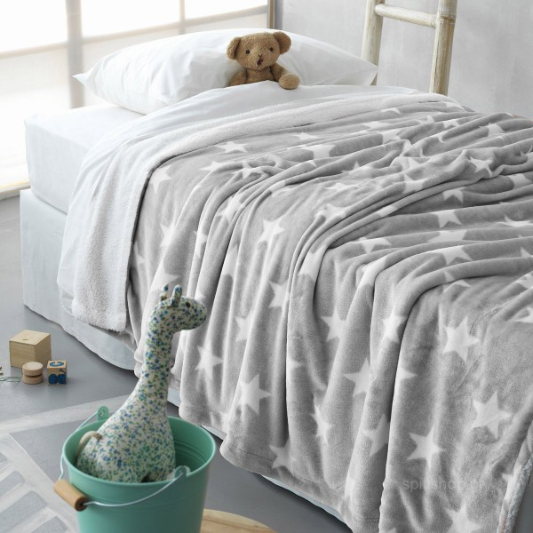 Κουβέρτα Fleece Μονή Με Γουνάκι Palamaiki Star Grey