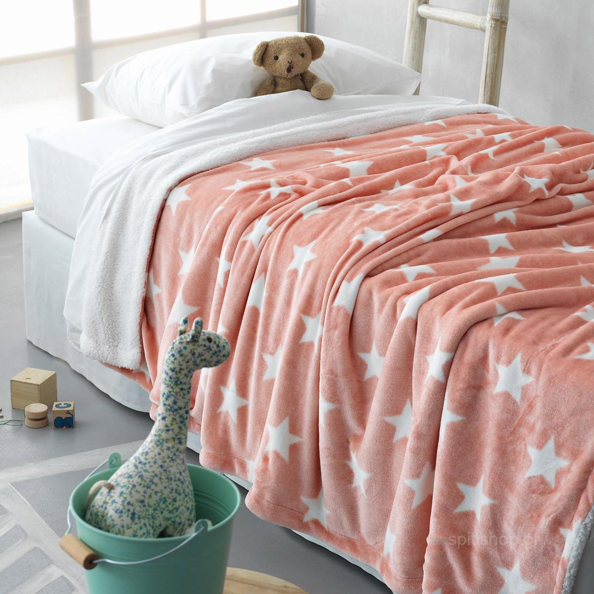 Κουβέρτα Fleece Κούνιας Palamaiki Star Pink