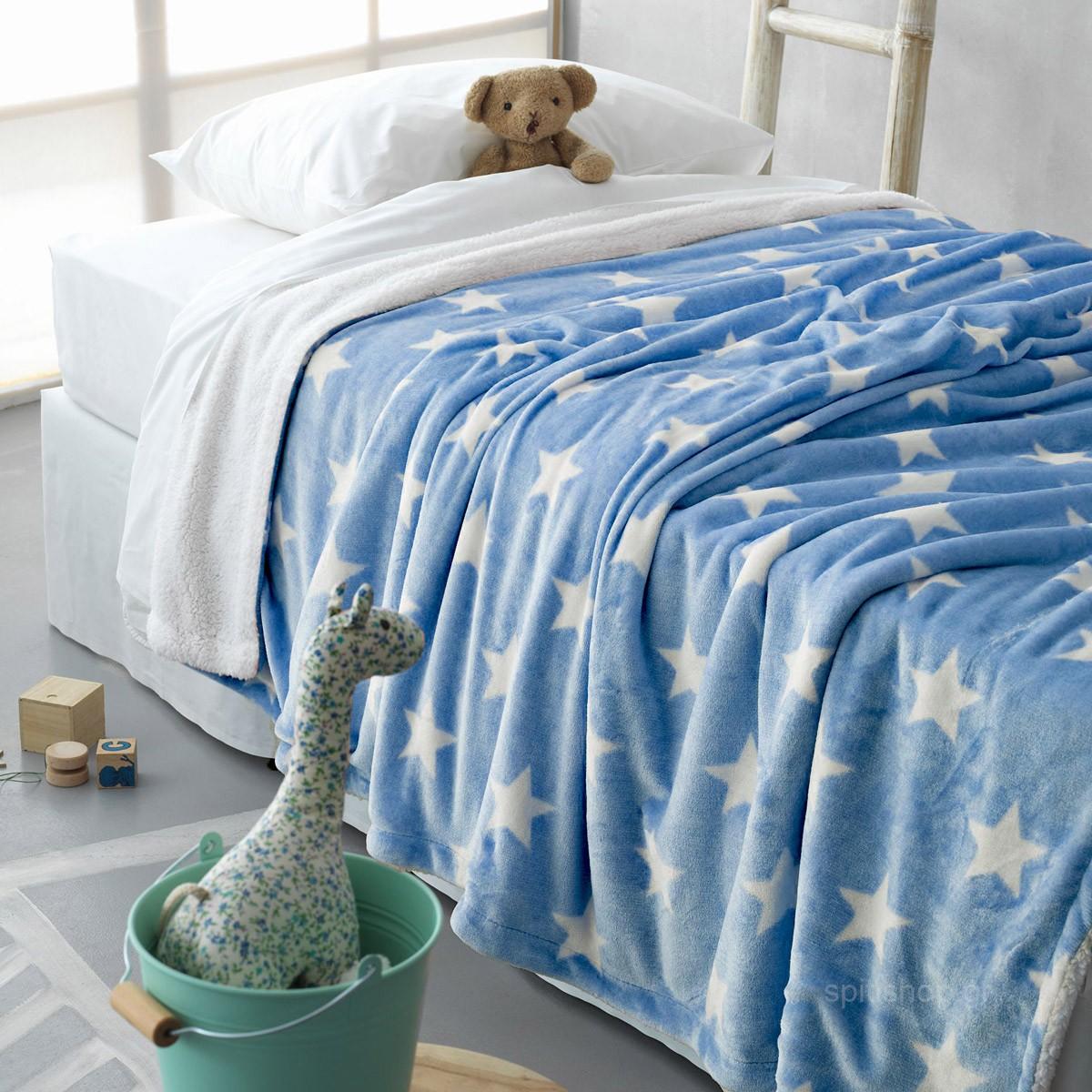 Κουβέρτα Fleece Κούνιας Palamaiki Star Ciel