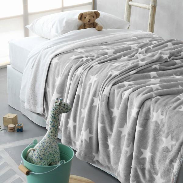 Κουβέρτα Fleece Κούνιας Με Γουνάκι Palamaiki Star Grey