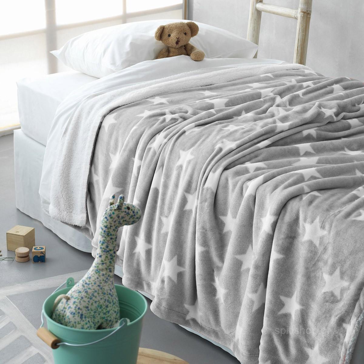 Κουβέρτα Fleece Κούνιας Palamaiki Star Grey