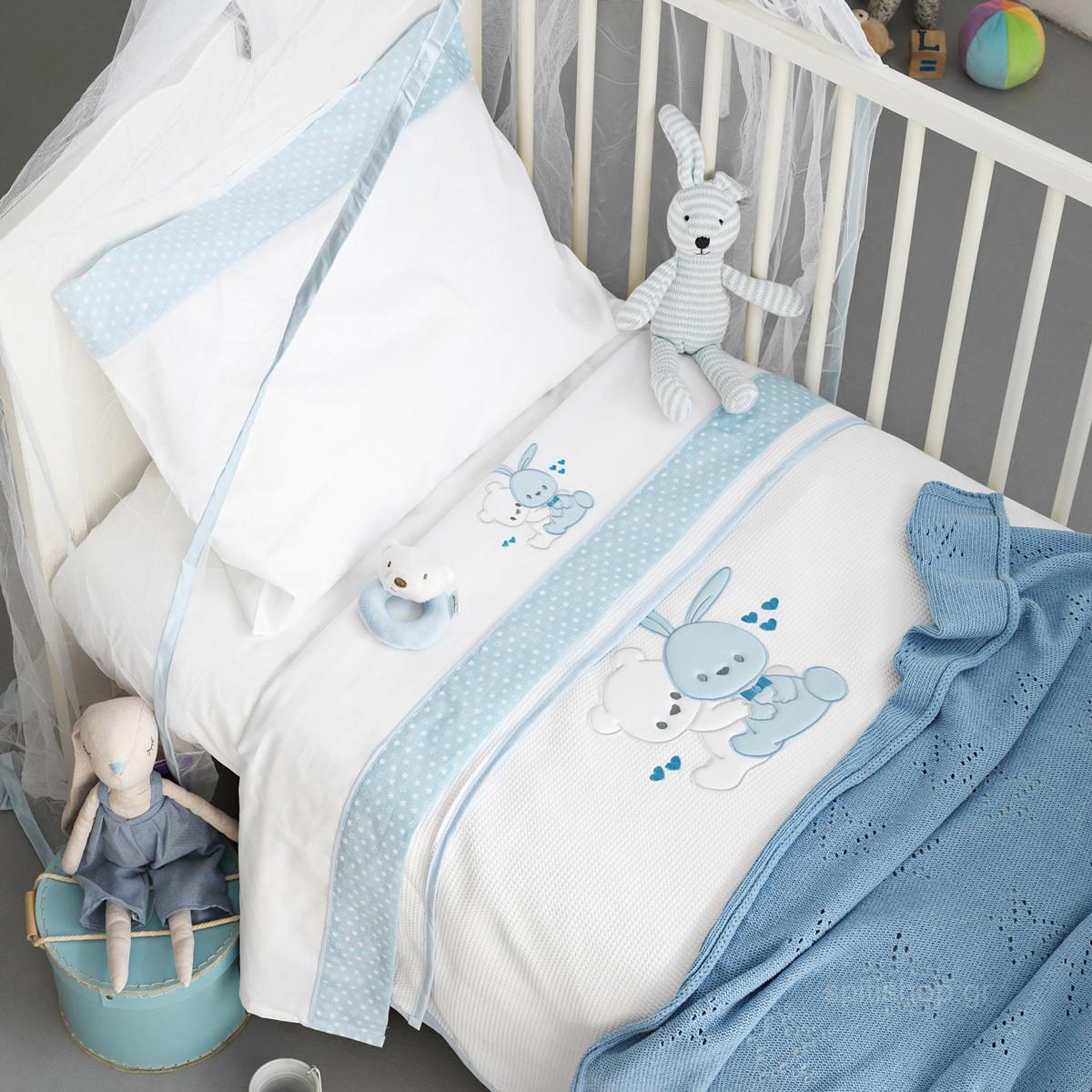 Κουβέρτα Πικέ Κούνιας Palamaiki Baby Joia 486 Ciel